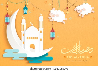Eid al-adha calligraphy design in cute paper art style, crescent, mosque and hanging sheep on chrome yellow background