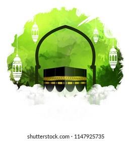 eid greeting, happy Eid al adha, Eid Mubarak beautiful greeting card With digital art background