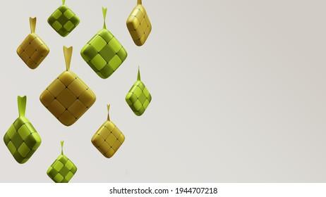 Eid Mubarak Background Template With Ketupat 3D Rendering