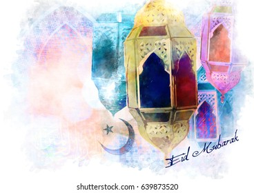 Eid Mubarak greeting - islamic muslim Ramadan holiday background with eid lantern or lamp, abstract watercolor style digital illustration