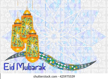 Eid Mubarak - islamic muslim holiday background or greeting card, with ornamental arabic oriental arabesque decorations, and eid holiday lanterns fanous, abstract artistic color splash grunge.