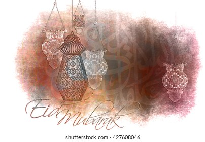 Eid Mubarak - islamic muslim holiday background or greeting card, with ornamental arabic oriental calligraphy, and eid holiday famous lanterns, abstract artistic color splash grunge.