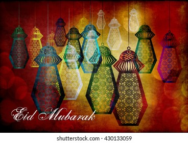 Eid Mubarak - islamic muslim holiday background or greeting card, with ornamental arabic oriental background and calligraphy,  and eid holiday lanterns or fanous lamps, abstract artistic vintage