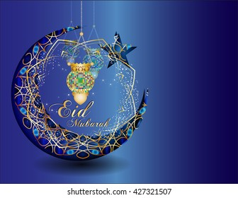 Eid mubarak - muslim islamic holiday celebration greeting card or wallpaper with golden arabic ornaments, calligraphy, crescent with a star and eid fanous lantern