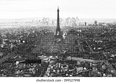 Eiffel tower Aerial view from Montparnasse view point with charcoal sketch effect