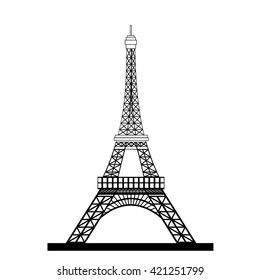 Eiffel Tower Black Silhouette illustration in flat design Raster version