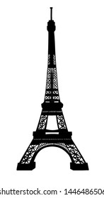 eiffel tower black silhouette on white