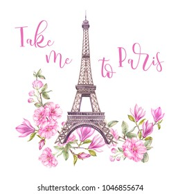Фотообои Eiffel tower with bouquet of flowers. Eiffel tower with spring flowers are isolated over the white background. Memory card and sign - Take me to Paris. Watercolour botanical illustration.