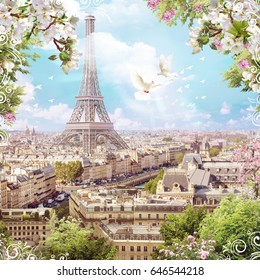 Eiffel Tower, flowers of apple trees and pigeons. View of the city. Digital fresco