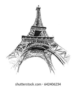 Eiffel tower. Hand drawing illustration. Gel pen