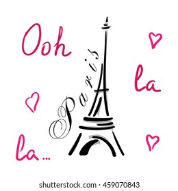 Eiffel Tower with hearts hand drawn. Decorative sketch silhouette. Typography background. France travel holiday concept. French graphic design for apparel, card, poster, t shirt. illustration.