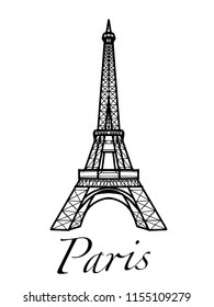 Eiffel Tower illustration drawing and paris text