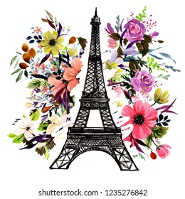 Фотообои Eiffel Tower on a floral background. Watercolor travel illustration.