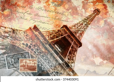 Eiffel tower Paris, abstract digital art, postcard