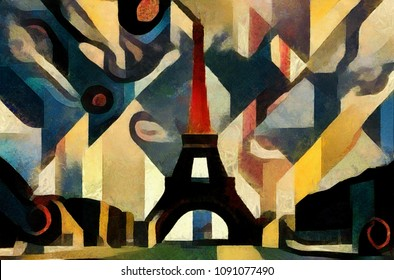 The Eiffel tower in Paris. Bright and vivid abstraction in the style of modern cubism, geometric elements. Executed in oil on canvas with acrylic painting.