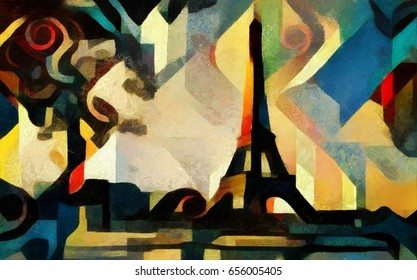 The Eiffel tower in Paris. Bright and vivid abstraction in the style of modern cubism, geometric elements. Executed in oil on canvas with acrylic painting. In the style of Picasso.