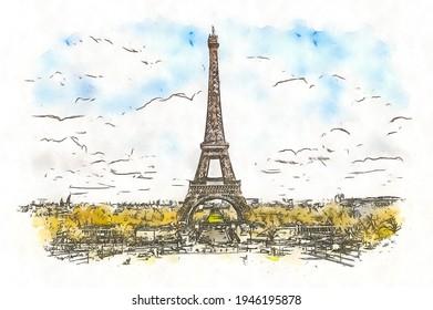 Eiffel Tower in Paris, France, watercolor sketch illustration.