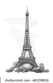 Eiffel Tower, Paris.  Graphic linear tonal drawing by slate pencil.  Isolated on white background