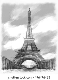 Eiffel Tower Sketch Graphic