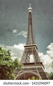 Eiffel tower under clouds and blue sky 3d illustration