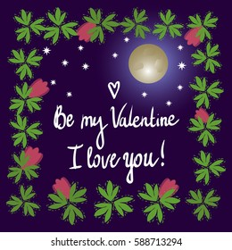 Eiffel Tower. Valentine's Day. I love you. The concept Night view in Paris. The moon and the stars. Frame of flowers and leaves.