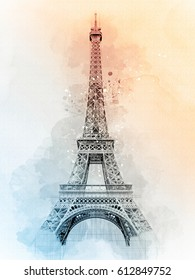 Eiffel Tower Watercolor Sketch