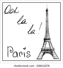 Eiffel Tower. The word Paris. On a white background. Hand drawing.