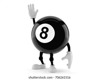 Eight ball character isolated on white background. 3d illustration