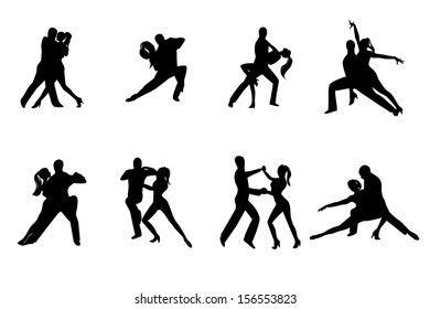 Eight black silhouettes couples dancing