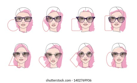 Eight Face shapes with options for spectacle frames on a white background