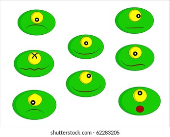 Eight little green monsters with different facial expressions