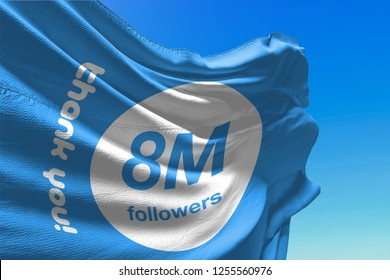 Eight Million Followers, 8000000, Flag Waving, 8M, Thank You, Number, Blue Background, Concept Image, 3D Illustration