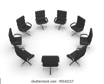 Eight office chairs in circle on white background - 3d render