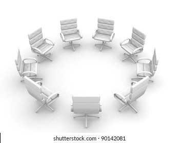 Eight office chairs in circle - This is a 3d render illustration