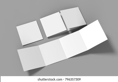 Eight page Double gate fold brochure blank white template for mock up and presentation design. 3d illustration.
