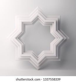 Eight point star paper cut on white background. Design creative concept for islamic celebration day ramadan kareem or eid al fitr adha. 3d rendering illustration.