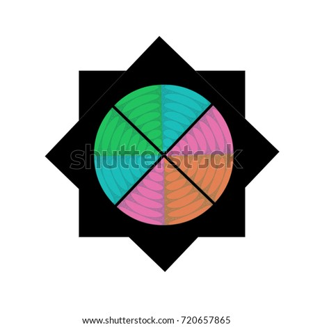 Eight Pointed Black Star Color Wheel Stock Illustration 720657865
