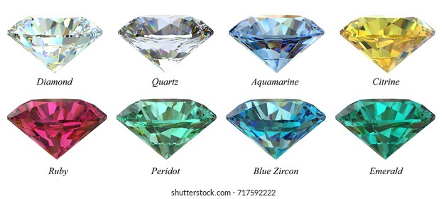 Eight various round-cut  jewels with names, diamond, quartz, aquamarine, citrine, ruby, peridot, sapphire, blue zircon, emerald, side view isolated on white background. 3D rendering illustration