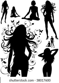 Eight womens silhouettes standing or sitting. Some with long hair. Can be used for design elements.
