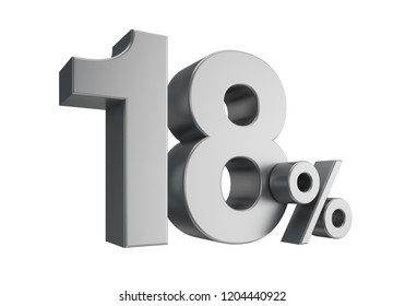 Eighteen percent or 18 % isolated on white background. 3d rendering.