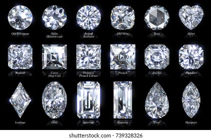 Eighteen various diamond cut styles and shapes. Close-up top view with names, isolated on black background. 3D rendering illustration.