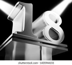 Eighteenth anniversary celebration shows celebrations and greetings for marriage. 18th year of marriage congratulation - 3d illustration