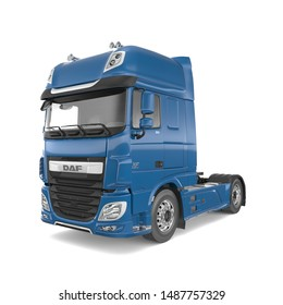 Eindhoven Netherlands - 24 AUG 2019: DAF XF Euro 6 isolated photorealistic 3D Illustration - front view.