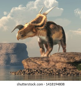 An Einiosaurus on boulders by a lake in an arid region. Einiosaurus was a ceratopsian dinosaur, like the triceratops, from the Cretaceous period. 3D Rendering