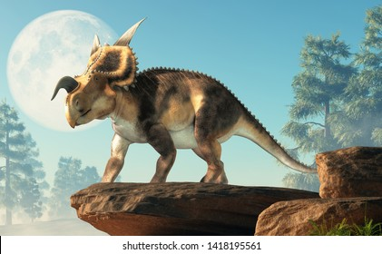 An Einiosaurus on a cliff in front of the moon. Einiosaurus was a ceratopsian dinosaur, like the triceratops, from the Cretaceous period. 3D Rendering