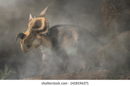 An Einiosaurus on foggy background. Einiosaurus was a ceratopsian dinosaur, like the triceratops, from the Cretaceous period. 3D Rendering