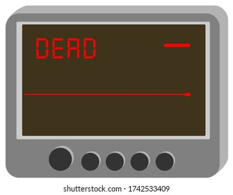 EKG or ECG red monitor, electrocardiogram, with flatline or asystole
