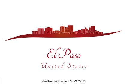 El Paso skyline in red