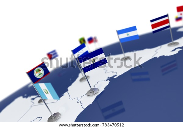 El Salvador flag. Country flag with chrome flagpole on the world map with neighbors countries borders. 3d illustration rendering flag