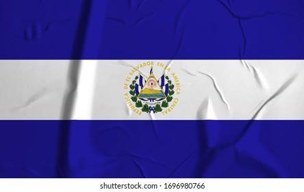 El Salvador  flag on crumpled paper background.